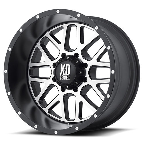 XD Series by KMC Wheels XD820 Grenade Satin  Black With Machined Face