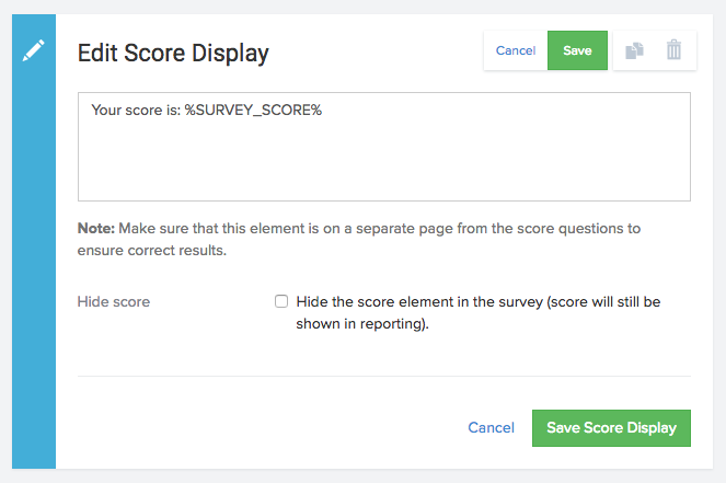 Score Display element
