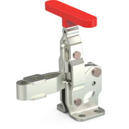 Vertical hold down clamp with flanged base, T-handle, and U-bar.