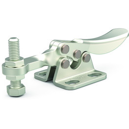 Small, stainless steel toggle clamp series for light duty clamping in tight spaces with flanged base and solid bar.