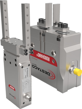 Destaco's DPE Series of pneumatic grippers are plug and play with no programming.