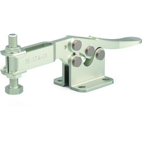 Low profile, stainless steel horizontal hold down clamp with U-bar and flanged base.