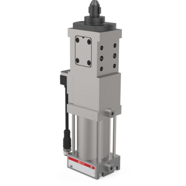 The 82P50-800 Series pneumatic pin clamps feature an enclosed and narrow design, with single-sided or double-sided clamping hook.