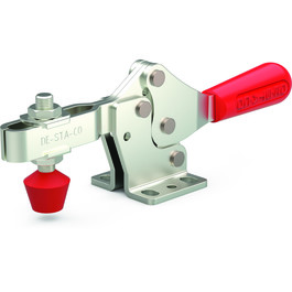 Low profile, horizontal hold down clamp with large handle clearance, flanged base, and U-bar.