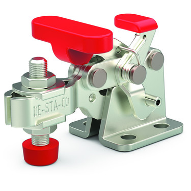 Destaco's 305-UR Series horizontal hold down clamps feature a compact design suitable for use in confined spaces, Toggle Lock Plus capability, and flanged base with U-bar.
