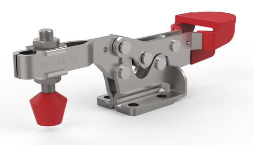 Low profile, horizontal hold down clamp with large handle clearance, Toggle Locking Plus capability, and flanged base with U-bar.
