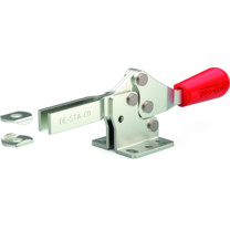 Low profile, horizontal hold down clamp with large handle clearance, flanged base, and open bar.