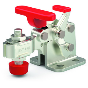 Destaco's 305, 307, and 309 Series horizontal hold down clamps feature a compact design suitable for use in confined spaces, availability in stainless steel models, and availability with Destaco® Toggle Lock Plus™.
