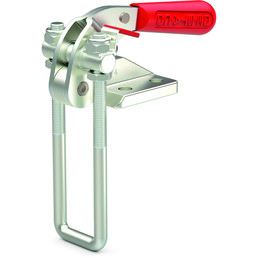 Destaco's 374 Series pull action latch clamps are equipped with patented thumb control lever for one handed operation, threaded U-hooks for easy adjustment, and perpendicular mounting.