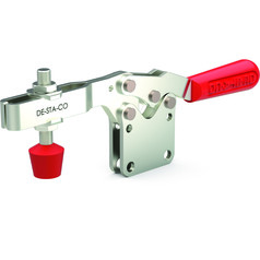 Low profile, horizontal hold down clamp with neoprene spindle, straight base, and U-bar.