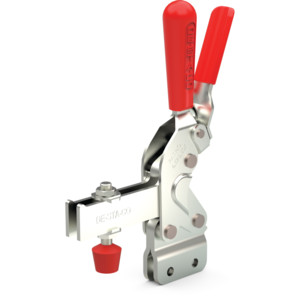 Destaco's 2010 Series vertical hold down clamps feature large hand clearance for improved safety, over two times the holding capacity of the 210 Series, and hardened bushings at key pivot points.