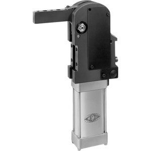 Destaco's 82E Series automation power clamps feature a narrow design, two mounting areas (front and back), and covered toggle action mechanism.