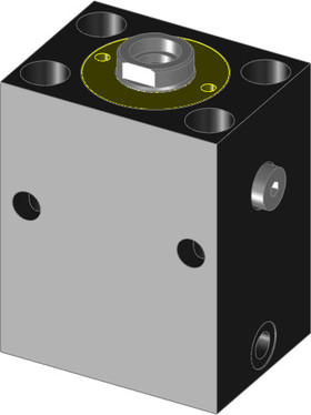 These hydraulic block cylinders are single acting with spring retraction.