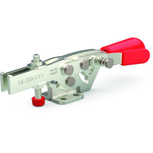 Destaco's 2013 Series horizontal hold down clamps feature increased hand clearance to reduce pinch points, fixed handle pivot capability for smooth action, and nearly two times the holding capacity of Model 213.