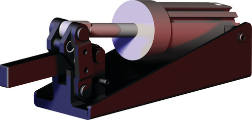 Destaco's 8007-E Series pneumatic hold down clamps feature hardened pins/bushings at all pivot points for long life cycle, solid clamping bar that can be modified to suit your application, and is sensor ready for round or T-slot style sensors.