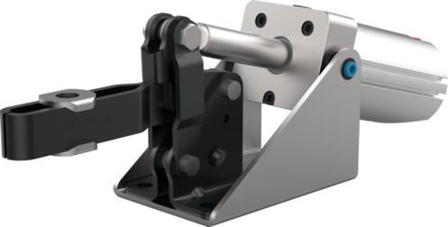 Destaco's 810-U Series pneumatic toggle clamps feature a spindle with flanged washer accessories, built-in flow restriction that eliminates the need for external flow controls, and function as the pneumatic version of the Series 210 manual clamps.