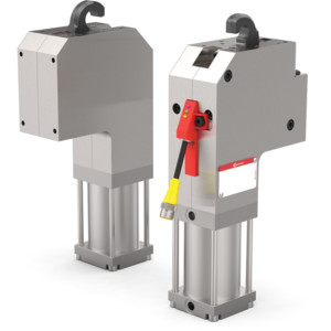 The 82U50 Series pneumatic pin clamps feature an enclosed and narrow design, with single-sided or double-sided clamping hook.