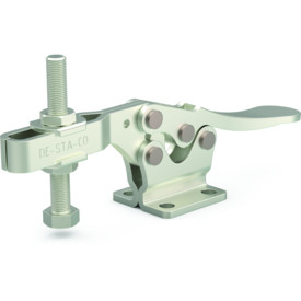 Low profile, stainless steel horizontal hold down clamp with large handle clearance, flanged base, and U-bar.