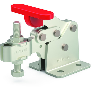 Destaco's 309-USS Series horizontal, stainless steel hold down clamps feature a compact design suitable for use in confined spaces, flanged base, and U-bar.