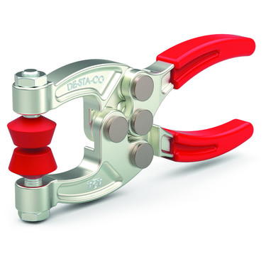 Destaco's 424-2 Series squeeze action plier clamps are compact, forged with alloy steel construction for high strength, and can be supplied with two adjustable neoprene spindles.