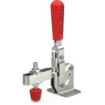 Vertical hold down clamp with U-bar and flanged base.