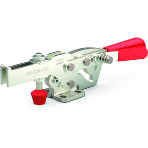 Destaco's 2027 Series horizontal hold down clamps feature increased hand clearance to reduce pinch points, fixed handle pivot capability for smooth action, and nearly two times the holding capacity of Model 227.