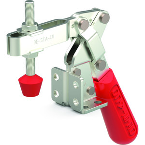 Destaco's 317 Series vertical hold down clamps feature dual mounting surfaces, large bar opening angle, and accommodations for spindle accessories.