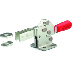 Low profile, horizontal hold down clamp with open bar and flanged base.