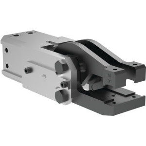 This heavy-duty, modular cam-style pressroom gripper is self-locking and can be used vertically or horizontally. It's available in a range of opening angles for the upper and lower jaws.