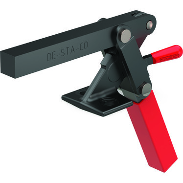 Destaco's 527 Series vertical hold down clamps feature hardened steel bushings at pivot points, thumb level on link for easy opening, and modifiable solid bar to suit your application requirements.