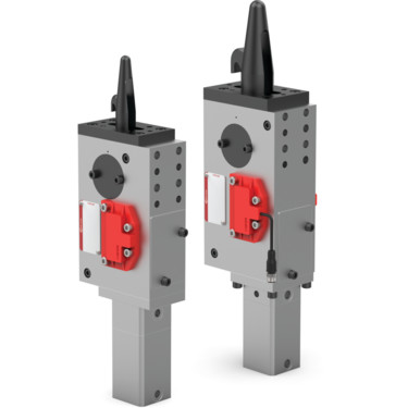 The 82P30/35 Series pneumatic pin clamps feature an enclosed and narrow design, with single-sided or double-sided clamping hook.