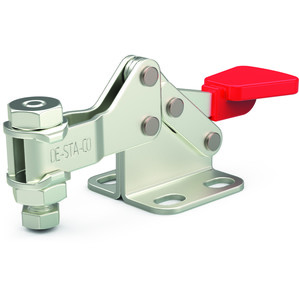 Stainless steel, horizontal hold down clamp with flanged base and low U-bar.