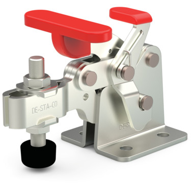 Destaco's 309-UR Series horizontal hold down clamps feature a compact design suitable for use in confined spaces, Toggle Lock Plus capability, and flanged base with U-bar.