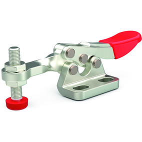 Small toggle clamp series for light duty clamping in tight spaces with left flanged base and solid bar.