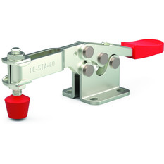 Low profile, horizontal hold down clamp with U-bar and flanged base.