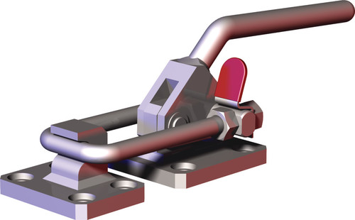 Destaco's 385-V2A Series pull action latch clamps are equipped with patented thumb control lever for one handed operation, threaded U-hook for easy adjustment, and optional latch plates.