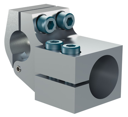 Destaco's CPI-TCA-30M-40M Series of cross-bar T-clamps connect a 40 mm tube to a 30 mm tube.