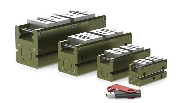 Destaco's DPP-10M-12 Series of parallel grippers are designed for low friction and precision part positioning.