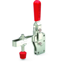 Vertical hold down clamp with hardened steel bushings, straight base, and U-bar.