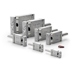 Destaco's DLB-12M-T Series of internally powered linear base slides are compact models that can be easily assembled and mounted.
