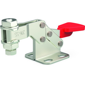 Stainless steel, horizontal hold down clamp with flanged base and high U-bar.
