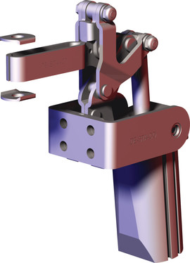 Destaco's 817-S Series pneumatic toggle clamps feature dual mounting surfaces for maximum flexibility, built-in flow restriction that eliminates the need for external flow controls, and is sensor ready for round or T-slot style sensors.