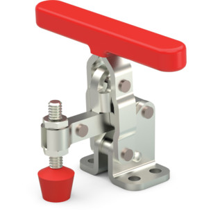 Popular toggle clamp series with ergonomic handle grip with neoprene spindle, flanged base, and T-handle.