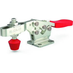 Destaco's 225 Series horizontal hold down clamps feature a low profile design, availability with Destaco® Toggle Lock Plus, and stainless steel models without plastic grips.