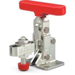 Small, steel toggle clamp with red handle with neoprene spindle, flanged base, with T-handle.