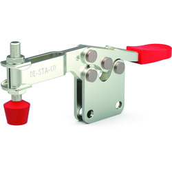 Low profile, horizontal hold down clamp with U-bar and straight base.