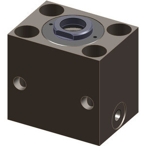 These hydraulic blocks are single acting with spring retraction. A typical application for hydraulic hollow piston cylinders is when pulling and/or pushing forces are needed for clamping.