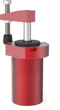Destaco's 8216 Series threaded body, pneumatic swing clamps feature bodies for mounting, a tapered piston rod, and is designed to swing left.