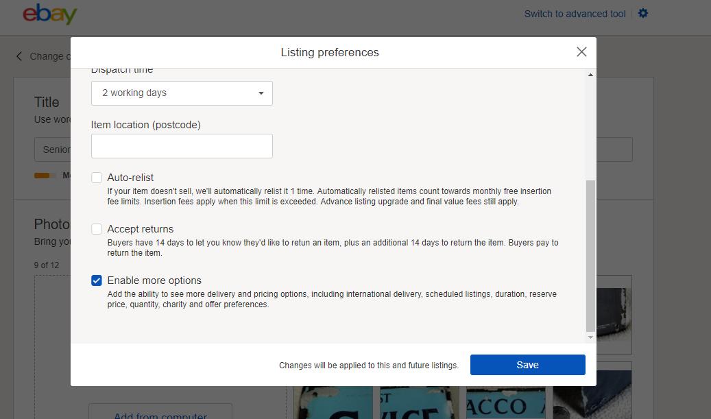 ebay listing preferences