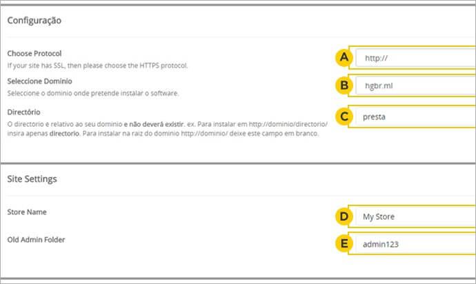 Configurações de instalação PrestaShop
